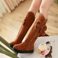 2013 autumn and winter comfortable flat heel snow boots sweet bow high-leg boots scrub boots