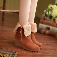 Female shoes 2013 nubuck leather round toe high-heeled shoes side zipper cotton-padded shoes wedges women's boots winter boots