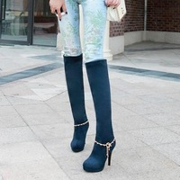 Sexy autumn and winter folding two ways ultra high heels martin boots thin heels chain boots taojian high-leg thin heels boots