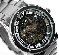 With box,Free shipping! Wilon Stainless Steel Mens Mechanical Watch Skeleton Auto Wrist Watch, high quality