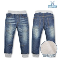 2013 Children Autumn Winter Trousers New Boy Girl With Thick Warm Trousers Jeans Soft Cotton Pants Free Shipping 1420