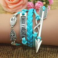 DIY Retro Silver Owls Infinity Arrow Friend Charms Wax Rope Leather Wrap Bracelet  Factory Wholesale price Free Shipping