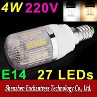 FreeShipping Energy saving Mini LED Bulb SMD 5050 400 Lumen 220V 4W E14 LED Bulb Lamp with 27 LED Corn Light