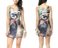Wholesale + Free Shipping! Girls Tatoo EWOK DRESS Digital Printing Sale Package Hip Vest Dress S117-193
