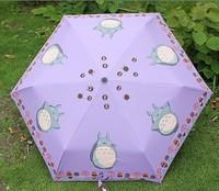 New Japanese Anime Cartoon Totoro Purple Rain and Shine Dual Purpose  Folding Umbrella