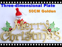 "10pcs/lot!Christmas decorations 50cm Golden ""Merry Christmas"" 3-Dimensional Letters Plate Signboard Board Tablet! Bar/Hotel/Mall"