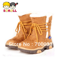 SoKoll Brand!Plush Fashion Girls Snow Boots Lace up Boots for Children 4 Different Color
