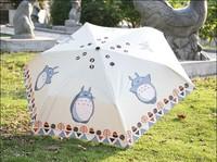 New Japanese Anime Cartoon Totoro Rice White Rain and Shine Dual Purpose  Folding Umbrella