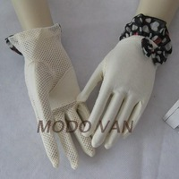 Short design big bow 100% cotton sun gloves breathable slip-resistant ride gloves