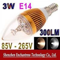 DHL FreeShipping 50PCS/LOT  Energy saving White/Warm White LED Lamp 300 LM 85V-265V 3W E14 LED Light Bulb Candle Lamp