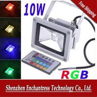 FreeShipping Energy Saving 10W Waterproof RGB floodlight Landscape Lamp RGB LED Flood Light