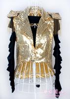 Lady gaga female singer jazz dance costume paillette tassel vest tuxedo blazer outerwear