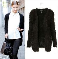 2013 autumn winter ladies' western style coat  cardigan women luxury  knit fuzzy knitwear free shipping