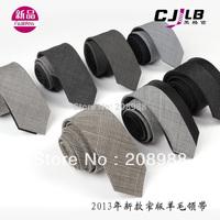 Wholesale Fashion Wool Tie Skinny Tie Men's Neck Tie Black/Grey Color Free Shipping 10pcs/lot #1610