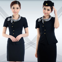 Front desk summer work wear female uniform professional set clothes