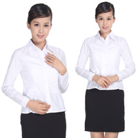 D322 ol career shirt women's long-sleeve shirt work wear all-match white shirt plus size female