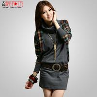 2013 autumn loose all-match long design women's sweater plus size one-piece dress