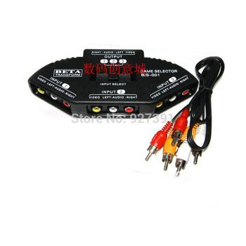 AV-104 Audio Switcher three into one audio and video switcher AV signal AV splitter