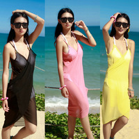Rgxzr bohemia chiffon one-piece dress solid color ultra-thin spaghetti strap skirt elegant beach dress beach towel cage yarn