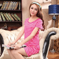 Nightgown female 100% stripe short-sleeve cotton nightgown 100% o-neck cotton nightgown female lounge