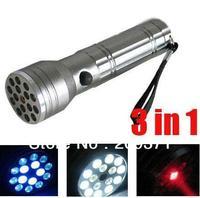 free shipping 1pcs 15 LED Ultraviolet Laser Flashlight Powerful Lamp Light