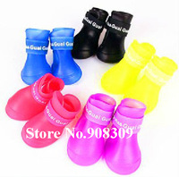 Free Shipping New 4PCS/set Pet Dog Cat Rubber Sole Boots Anti-slip Waterproof Rain Shoes Booties, Pets Footwear, Non-slip Shoes