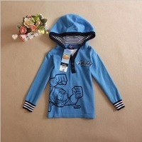 boy Super soft thin cotton thread with a hood sweater male child spring and autumn pullover sweater