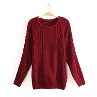 2013 autumn winter new 4 colors WOMEN FASHION Retro braided thick knitted pullover sweater 0212
