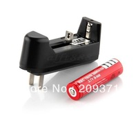 free shipping 1 set 3000mAh 18650 Rechargeable Battery + Single Charger 110-240V