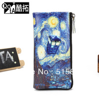 QOTA anime Oil painting long design zipper wallet personalized doodle genuine leather wallet general free shipping qi008