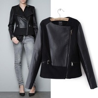 Free shipping  New arrival  Women patchwork leather overcoat fashion woolen outerwear lady turn-down collar zipper short jacket