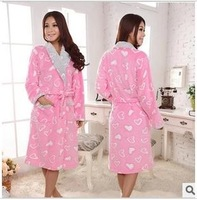 Fashion Autumn and winter pajamas women's Lovely hearts nightgown princess thickening coral fleece robe homewear