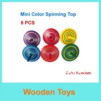 Free Shipping 6pcs Cute Mini Color Wooden Spinning top Toys/Wooden Toys/Funny Wooden Toys/Christmas and NEW Year Gift