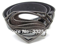 The man of steel , superman belt buckle with PU leather belt