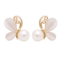 Fashion 18K Gold Plated Butterfly Earring With Cat Eye Stone Earring Pearl Earring
