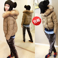 2013 short design large fur collar down coat female Women women's down coat outerwear
