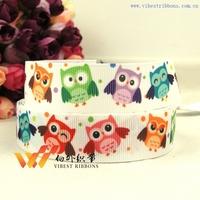 "Freeshipping Cheap ribbon Owl ribbon  50 yards 7/8""(22MM) Printed grosgrain ribbon 46600-XW-365-022"