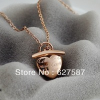 High Quality Gold Plated Titanium Steel Heart Lock Necklace Free Shipping