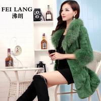 2014raccoon fur rabbit fur three quarter sleeve fur women's medium-long outerwear