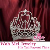 Wah Mei Jewelry  rhinestone tall crown tiara pageant and bridal wedding tiaras wmc2405