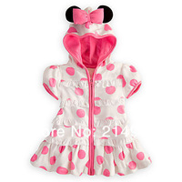 Free Shipping,Wholesale White Girls Summer Dresses 2013 Minnie Mouse Outfit Pink Polka Dot Beautiful Girl Dress Hooded,5pcs/lot