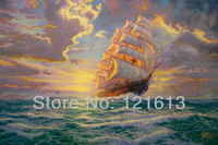 Landscape Seascape Canvas Prints Thomas Kinkade Oil Painting Printed On Canvas Home Decoration Courageous Voyage Free Shipping