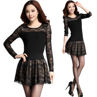 Hitz Korean lace net yarn stitching big yards long sleeve T-shirt 8153 nasty gal sophisticated
