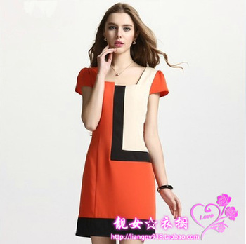 Free shipping new 2013 spring and summer women's OL outfit fashion slim plus size clothing mm chiffon one-piece dress