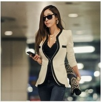 New fashion Women Long Sleeve Slim Brand Jacket Lady Autumn V-neck Black White Suit OL Jackets Plus Size  free shipping