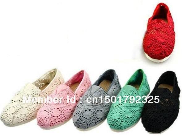 Livraison gratuite Hot femmes classiques confortables évider crochet fleur crochet chaussures plates occasionnels toile chaussures chaussures(China (Mainland))