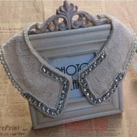 Free Shipping Fashion black and white rhinestone pearl lace false collar necklace cape