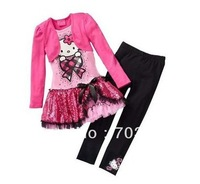 2013 spring/autumn New Children Girl's 3PC Sets Skirt Suit hello kitty dress baby Clothing sets shirt +pants girls clothes set