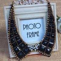 Free Shipping Fashion collar false collar black vintage rhinestone square gold female decoration necklace