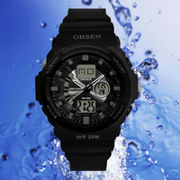 High quality OHSEN Mens waterproof outdoor sports tourism mountaineering essential alarm multi-functional watches men's brand wr